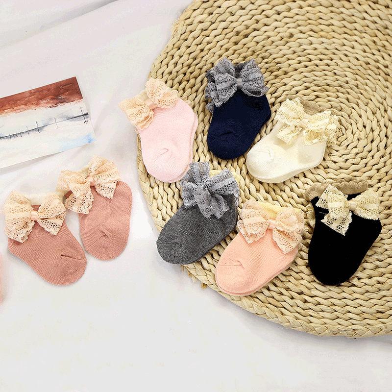 YUXIC 0-2Y Baby Girls Socks Cute Lace Bow Newborn Princess Short Socks Beautiful Infant Girls Cotton Socks Baby Footwear