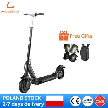 KUGOO-Patinete eléctrico S1 para adulto, scooter plegable de motor de 350W de 8 pulgadas, 30 km, con accesorios, disponible en la UE