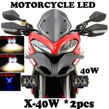 2PCS 40W LED Motorcycle Light high / Low X Beam 4600LM 12V 24V