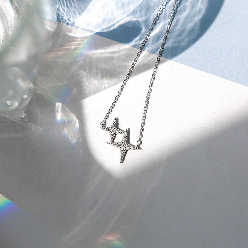 925 Sterling Silver Shiny Star CZ Zircon Necklace Charm Women Wedding Party Jewelry Design Creative Korean Style Accessories