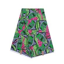 Африканская зеленая печатная ткань в цветочек воск 6 ярдов \ Лот