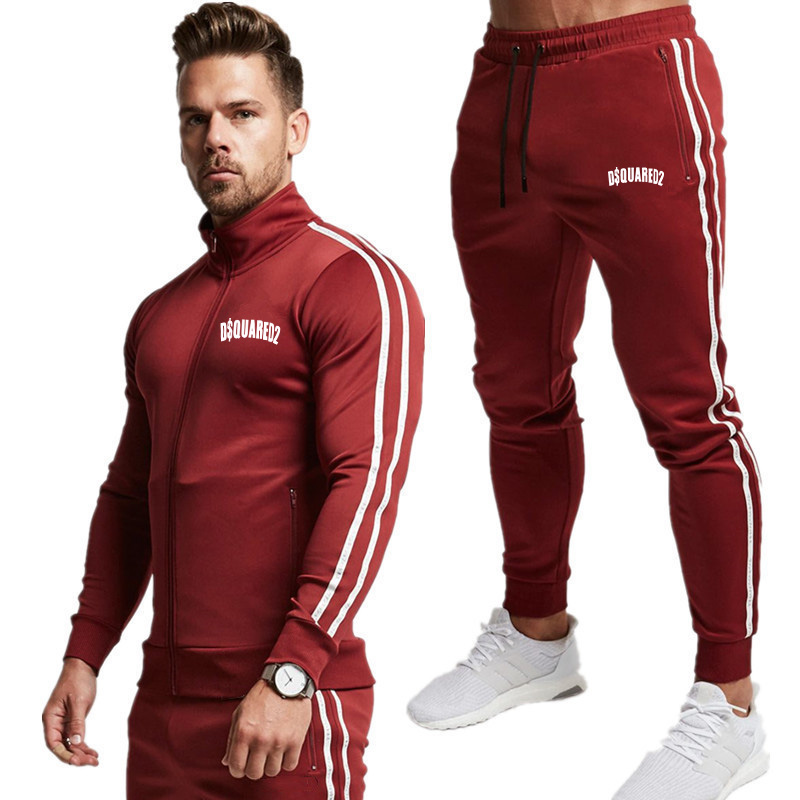 Men Tracksuit 2 Piece Sweatshirt+Pants Sportswear Set Running Men Sweatshirts Set Gyms Fitness Bodybuilding Jogger Tracksuit Men