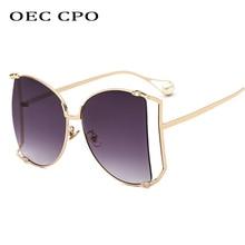 Oversized Sunglasses Women Gradient Mens for Vintage High Quality Metal Sun glasses Grey Trendy Sunglass O157