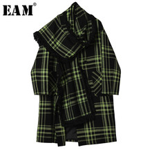 [EAM] Losse Fit Green Plaid Big Size Met Sjaal Wollen Jas Parka Nieuwe Lange Mouw Vrouwen Mode Tij herfst Winter 2019 1H948(China)