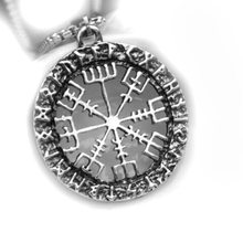 Heat-Viking Accessories Loon Lettered Rune Pendant vegvisir Compass Stainless Steel Necklaces(China)
