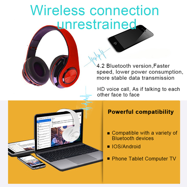 B39 LED Colorful Breathing Lights Bluetooth 5.0 Headphone Portable Folding Wireless Headset Earphone With Mic FM Support TF Card 5