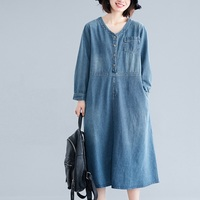 New Plus Size Spring Autumn Women Dresses Casual Loose Solid Vintage Long Sleeve Jeans Dress For Women Larger Denim One Piece