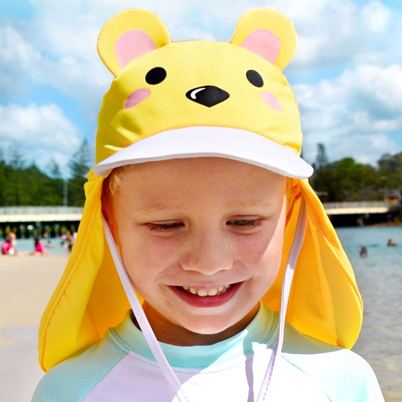 CHILDREN'S Swimming Cap Cute Cartoon Topee Outdoor Beach Seaside Windproof Sand UV-Protection Neck Guard Sun Protection Hat