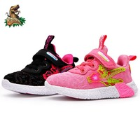 DINOSKULLS Toddler Tennis Girls Glowing Sneakers Dinosaur Kids Led Light Sports Shoes Autumn Mesh Breathable Children's Shoes
