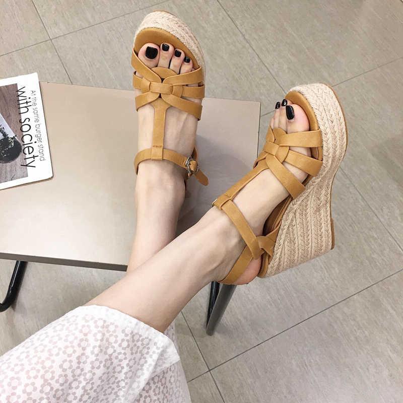 Wellwalk ฤดูร้อนผู้หญิงรองเท้าแตะ T-Strap Wedge รองเท้าส้นสูงรองเท้าแตะผู้หญิงกัญชาเชือก Sandalias หญิง Pu หนังรองเท้า