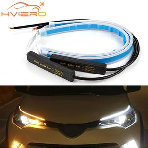 2X Car Led 30cm/45cm/60cm Flexible Auto LED Strip LightTurn Signal Brake Light Trunk Lamp DRL Strobe Light Daytime Running Light
