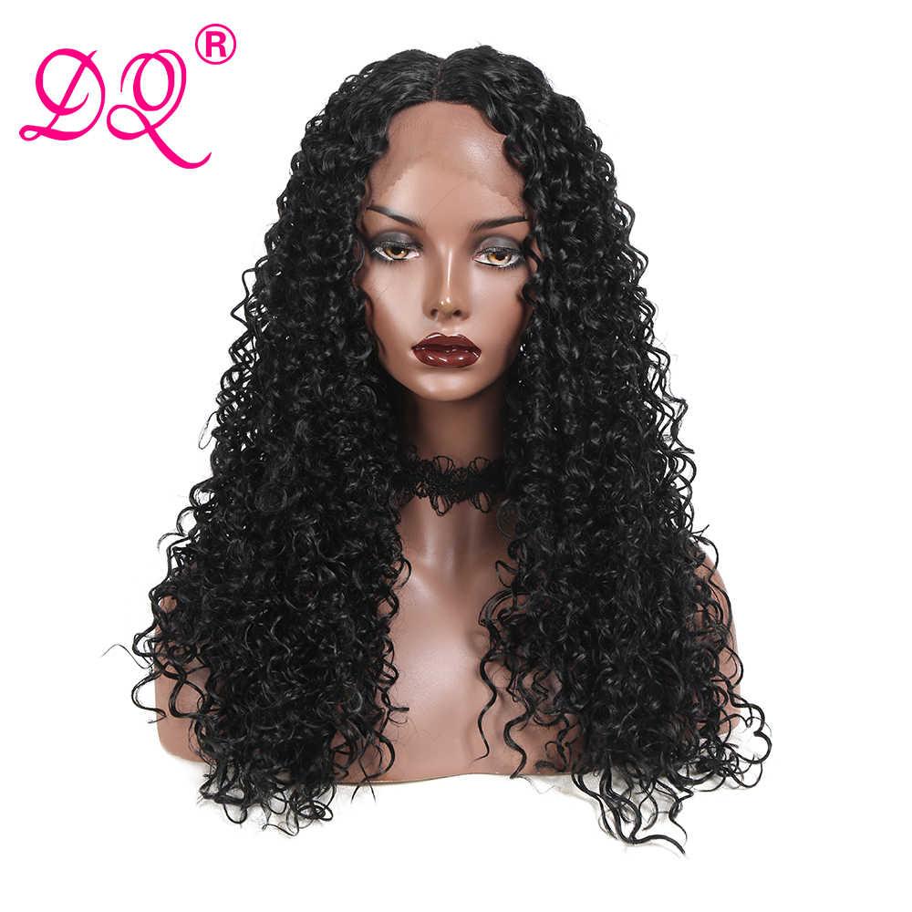 Dq Lange Afro Kinky Krullend Synthetische Lace Front Pruik Vrouwen Hittebestendige Vezel Cosplay Pruik Ombre Bruin Rood Zwart Pruik midden Deel