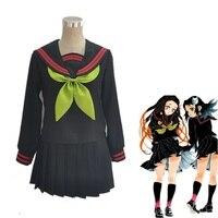 Anime Demon Slayer Kimetsu no Yaiba Cosplay Costume Kamado Nezuko Makomo JK School Uniforms Sailor Suit Women Outfit Custom Made
