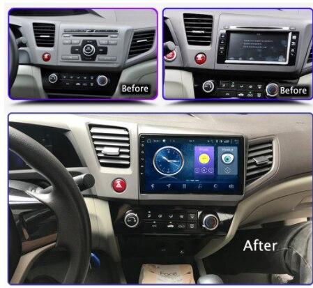 Reproductor Multimedia de coche chogat 9 ''2 din Quad Core Android 9,0 Radio de coche reproductor de navegación GPS para Honda Civic 2012-2015