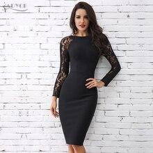 Adyce 2020 جديد إمرأة أسود Bodycon كم طويل ضمادة فستان مثير تفريغ الدانتيل ميدي نادي فستان Vestidos المشاهير حفلة