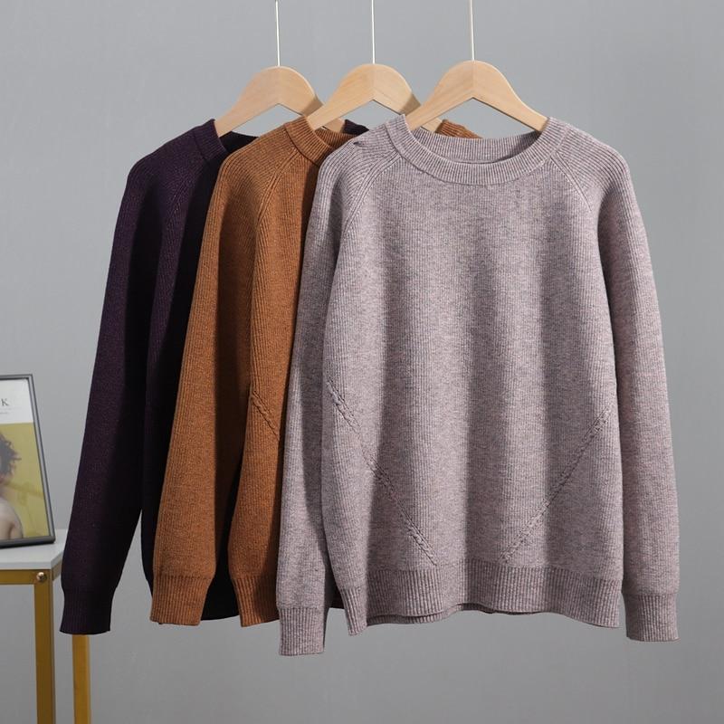 GIGOGOU-suéter básico grueso y cálido para mujer, Jersey de punto con lazo de invierno, jerséis holgados de gran tamaño, Top de mujer