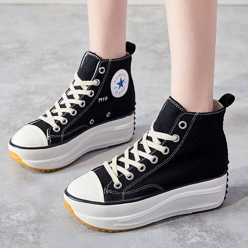 Fashion Quality Women Vulcanize Casual Shoes Women Flats Shoes Women Hight Top Canvas Shoes Wedges Platform Shoes B21-32