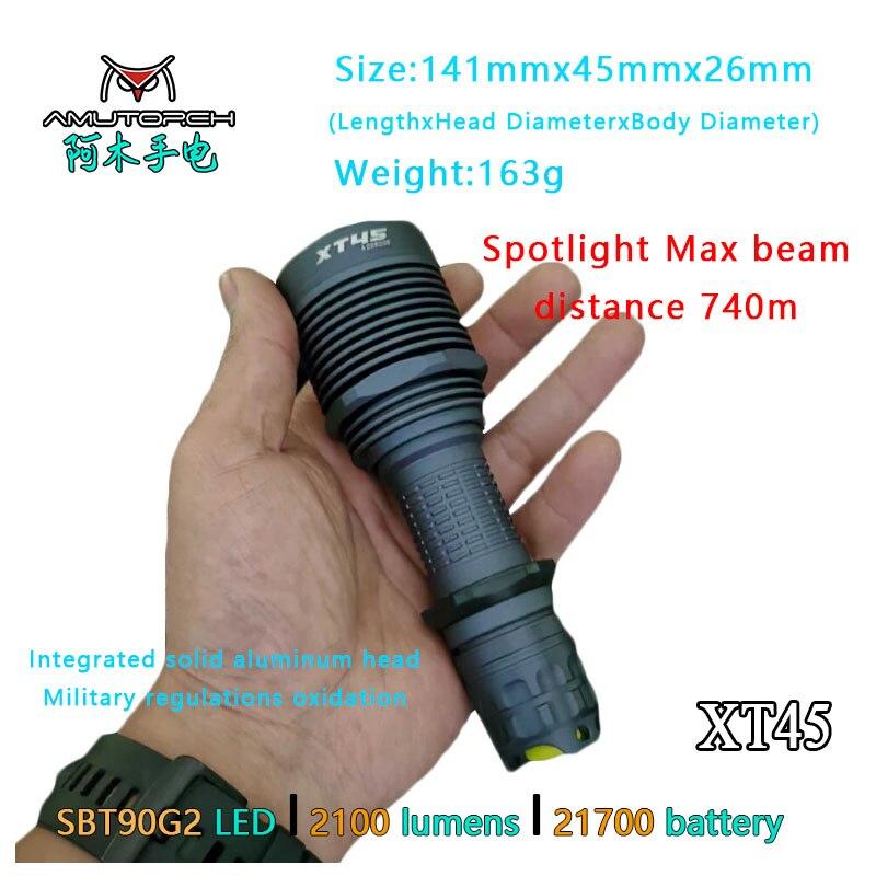 Amutorch XT45 SBT90G2 LED5000LM 750M Long Thrower Portable Hunting Spotlight Flashlight 21700 Battery,Powerful Tactical Torch