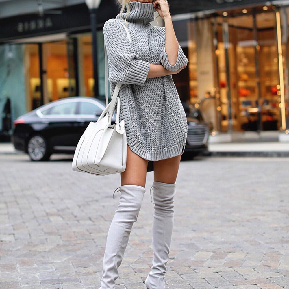 Sweater Women Turtleneck Pullover Knitted Autumn Winter Long Sweater Sueter Mujer Invierno 2019 Sweater Dress