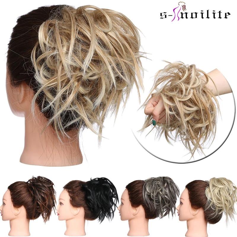 S-noilite грязный, обтянутая тканью; Шиньон пучок волос прямые резинка шиньон для создания прически синтетические волосы шиньон волос для женщи...