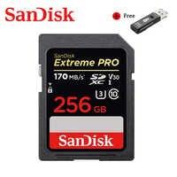 Tarjeta de memoria SanDisk Extreme Pro SDHC/SDXC tarjeta SD 256GB 128GB 32GB 64GB C10 U3 V30 UHS-I cartao de memoria de tarjeta de memoria Flash para la cámara