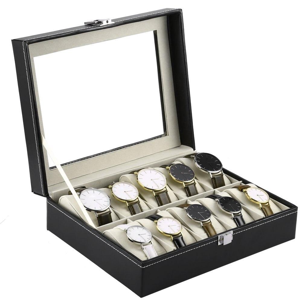 10 slots couro do plutônio preto caixa de relógio caso jóias exibição armazenamento organizador titular embalagem coleção caixão caja para homem