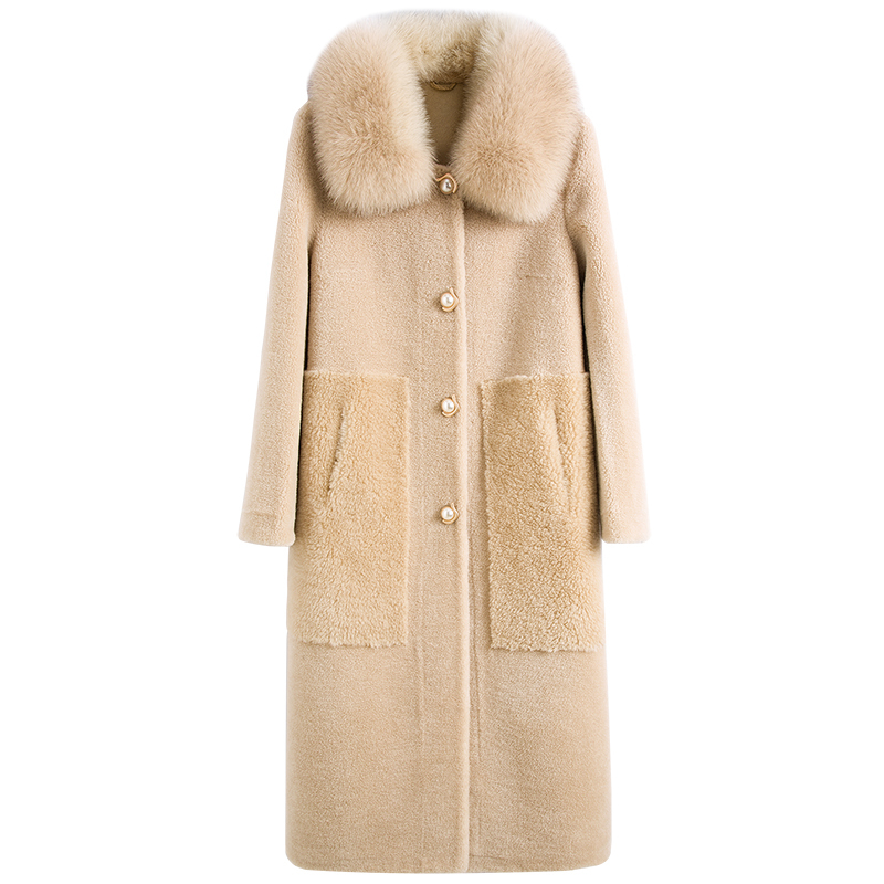 Fox Fur Collar Real Fur Coat Streetwear Wool Jacket Autumn Winter Coat Women Clothes 2020 Korean Sheep Shearling Suede Lining