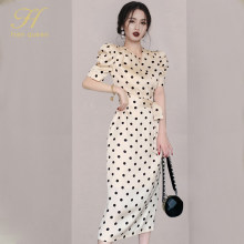 H Han Queen Womens New Polka Dot Puff Sleeve Elegant Dress Office Lady Evening Party Bodycon Sheath Pencil Dresses Work Vestidos