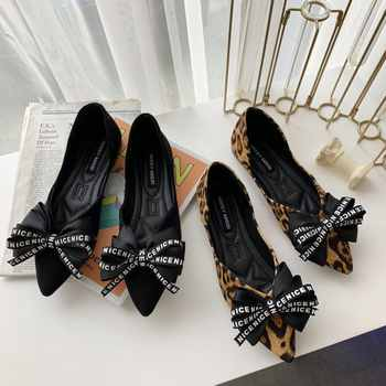 2019 Spring New Ladies Big Bow-Knot Flats Leopard Printed Pointed Toe Women Loafers Party Office Fashion Casual Shoes