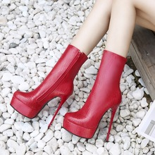Women's boots casual high heels fashion shoes women thick bottom PU zipper sprin