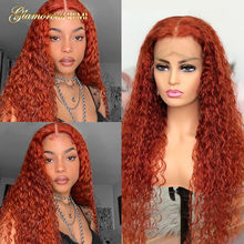 Colored Curly Lace Part Human Hair Wigs Brazilian Ginger Orange Part Lace Wigs For Black Women Pre-Plucked Remy Hair Density 180