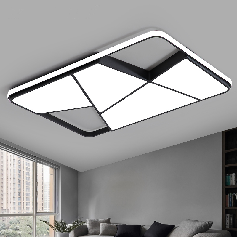 Image 5 - Rectangle modern led ceiling lights for living room bedroom study room white or black 95 265V square ceiling lamp with RC-in Ceiling Lights from Lights & Lighting