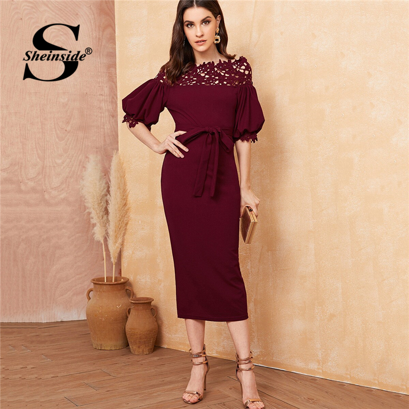 Sheinside Guipure Lace Detail Off The Shoulder Dress Women 2019 Autumn Half Sleeve Pencil Dresses Office Ladies Belted Dress