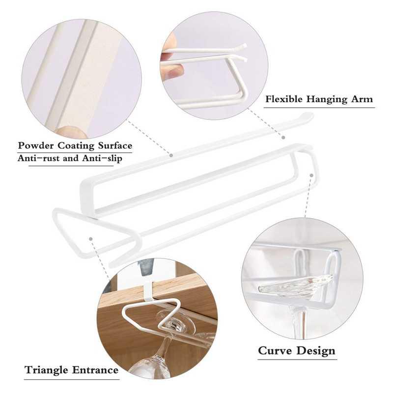 Glaswerk Wijn Glazen Beker Rack Hanger Houder Onder Kast Opslag Plank Zonder Boren voor Keuken Set Van 2