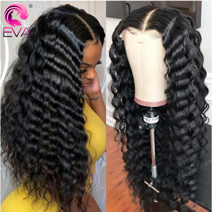 Eva Deep Wave Lace Front Wigs For Women Brazilian Lace Front Human Hair Wigs Pre Plucked With Baby Hair Loose Deep Wave Wig Remy