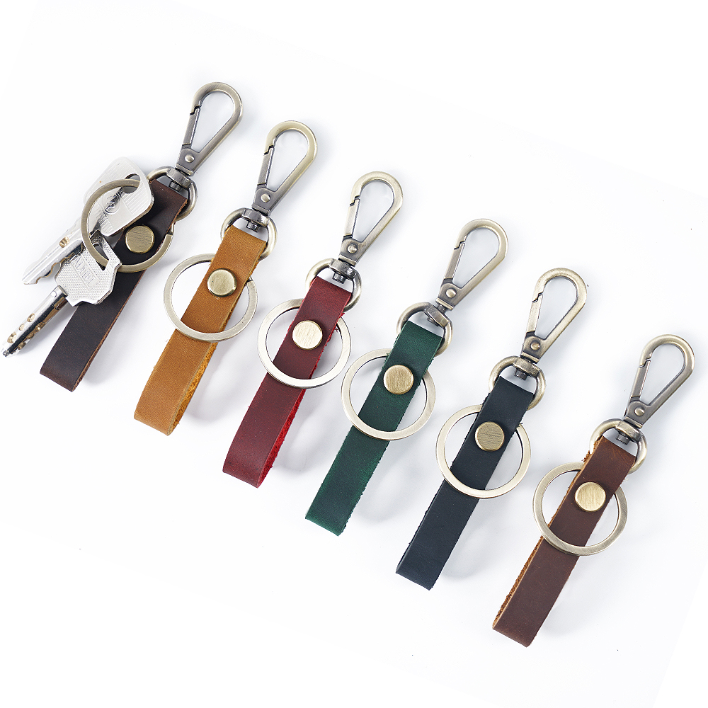 Genuine Leather Retro Handmade Purse Keychain Car Key Ring Holder Wallet Arts and Crafts for Men New Fashion Small Gift