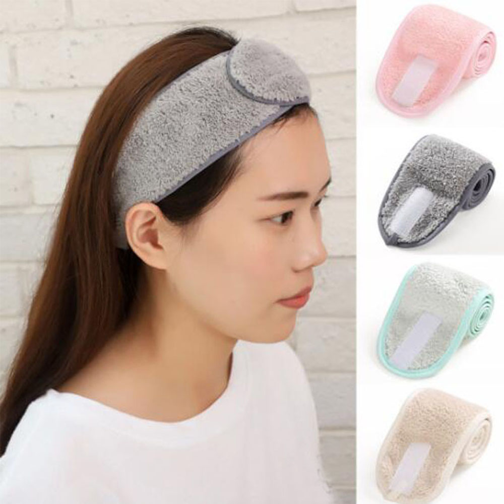 1PC Women Adjustable Makeup Headbands Wrap Tiara Turban Face Wash Bath Salon SPA Velcro Hairband For Women Accessories
