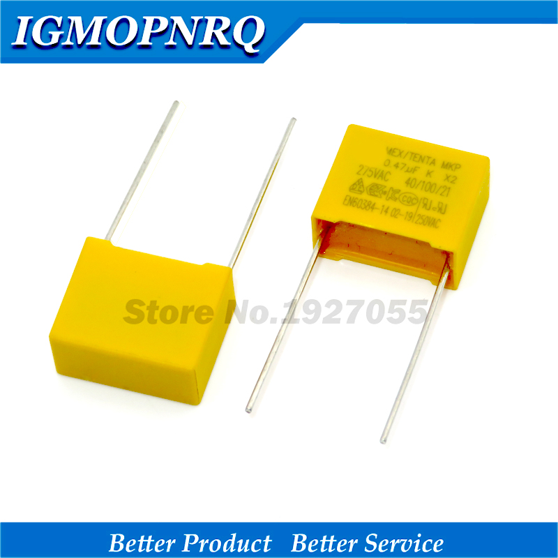 10pcs High Quality 470nF Capacitor X2 Capacitor 275VAC Pitch 15mm X2 Polypropylene Film Capacitor 0.47uF New