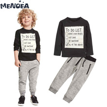 Menoea Boy Clothing Set Spring Autumn Children Clothes Long Sleeve T-shirt + Pants 2pcs Letter Boy Costume Kids Clothes Suit spring autumn 3 12y girl suit set long sleeve top skirt girls clothing set cute owl costume for kids teenage clothes