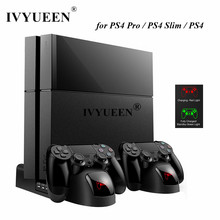 IVYUEEN for Sony PlayStation 4 PS4 Pro Slim Console Vertical Stand Cooling Fan Cooler Dual Controller Charger Charging Station