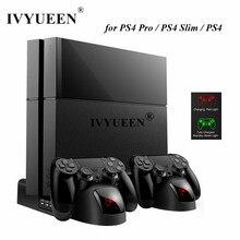 Ivyueen para sony playstation 4 ps4 pro magro console suporte vertical ventilador de refrigeração refrigerador duplo controlador carregador estação carregamento