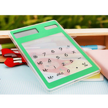 Solar Ultra Slim Touchscreen LCD 8 Digit Electronic Transparent Calculator Home Office Use LHB99 centechia useful lcd 8 digit touch screen ultra slim transparent solar calculatorstationery clear scientific calculator office
