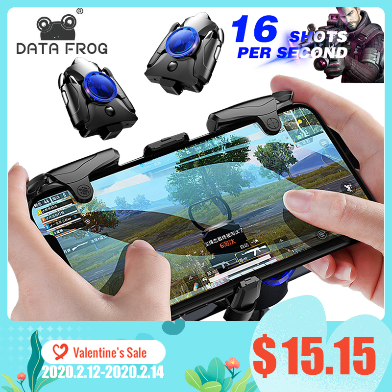DATA FROG Mobile Phone Gaming Trigger for PUBG Gamepad Game Turbo Fire Button 16 Shots Per Second L1R1 Shooter Pubg Controller