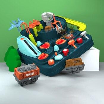 Toschi Dinosaur Tracks Shaoguan Car Big Adventure Parking Adventure Car Track Toys Inertial Car Children's Educational Toys