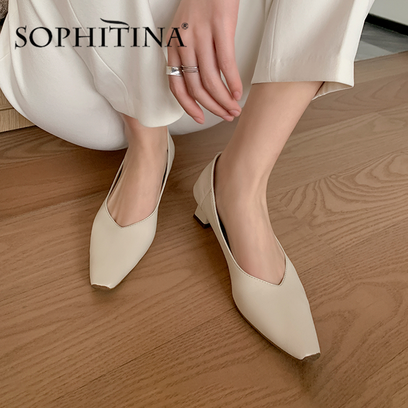 SOPHITINA  Breathable Pumps Women Atmosphere Square Toe  Mature Strange Style High Heel Shoes Convenience Fashion Shoes SO483
