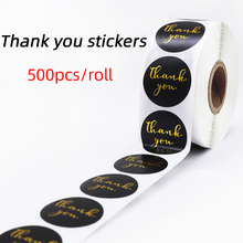 500pcs black round paper gold foil thank you sticker wedding party decoration multifunctional stationery