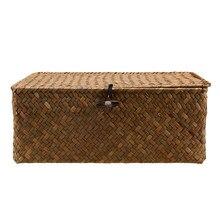 Retro Seegras Gewebt Weidenkorb mit Deckel, Rustikalen Natürliche Braun Finish, Dekorative Akzent oder Lagerung