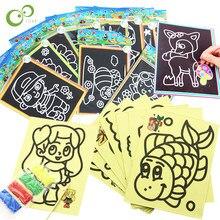 20 pçs early educacional aprendizagem criativa desenho brinquedos para crianças magia scratch arte doodle almofada areia pintura cartões presentes gyh