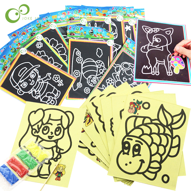 20Pcs Early Educational Learning Creative Drawing Toys for Children Magic Scratch Art Doodle Pad Sand Painting