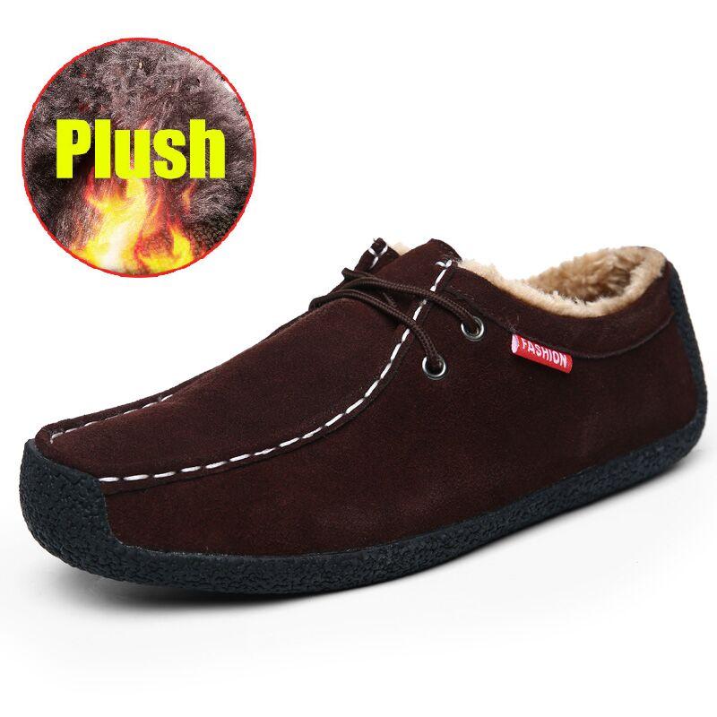 Big Size 50 Winter Pluche Warm Houden Mannen Koe Suède Schoenen Mode Mannen Flats Schoenen Casual Mannelijke Lederen Schoenen mannen Sneakers - 3